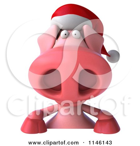 Clipart of a 3d Christmas Pig with a Sign 2 - Royalty Free CGI Illustration by Julos