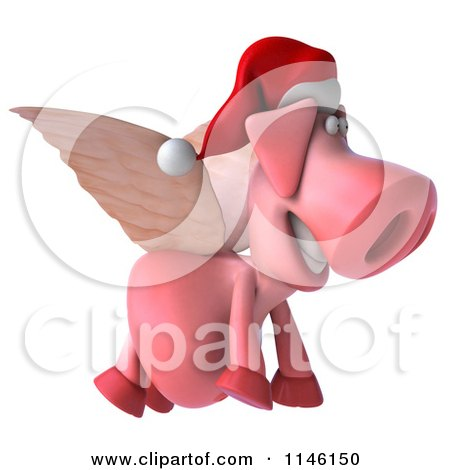 Clipart of a 3d Christmas Winged Pig Flying to the Right - Royalty Free CGI Illustration by Julos