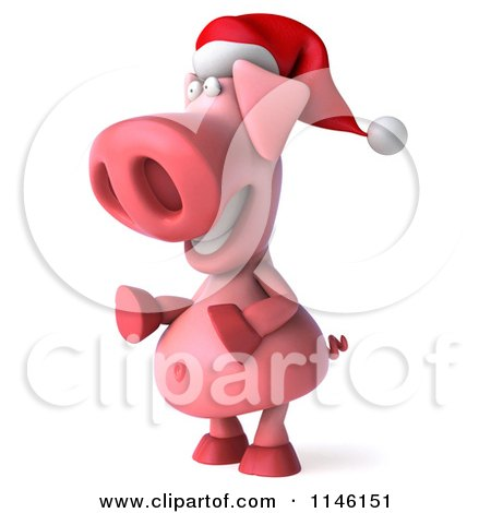 Clipart of a 3d Christmas Pig Facing Left - Royalty Free CGI Illustration by Julos