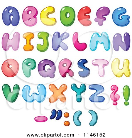 Cartoon of Colorful Capital Bubble Letters and Punctuation - Royalty Free Vector Clipart by yayayoyo
