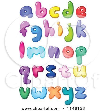 Cartoon of Colorful Lowercase Bubble Letters and Punctuation - Royalty Free Vector Clipart by yayayoyo