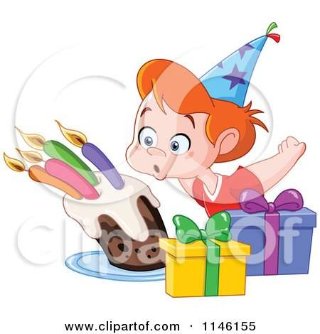 Cartoon Of A Happy Birthday Party Boy Blowing Out His Cake