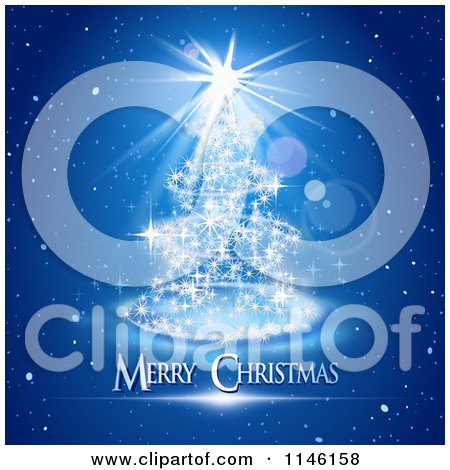 Clipart of a Magical Blue Christmas Tree with Merry Christmas Text - Royalty Free Vector Illustration by Oligo