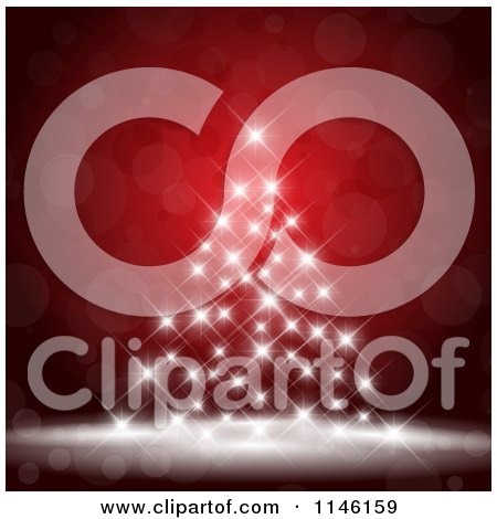 Clipart of a Christmas Tree of White Lights on Red Bokeh - Royalty Free Vector Illustration by KJ Pargeter
