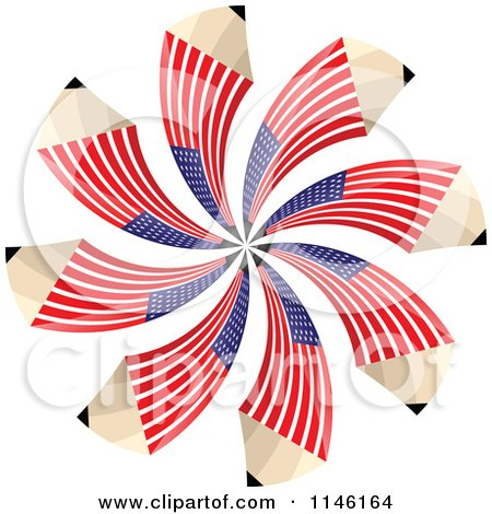 Clipart of an American Flag Spiral Pencil Burst - Royalty Free CGI Illustration by Andrei Marincas
