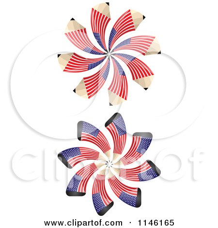 Clipart of American Flag Spiral Pencil Bursts - Royalty Free CGI Illustration by Andrei Marincas