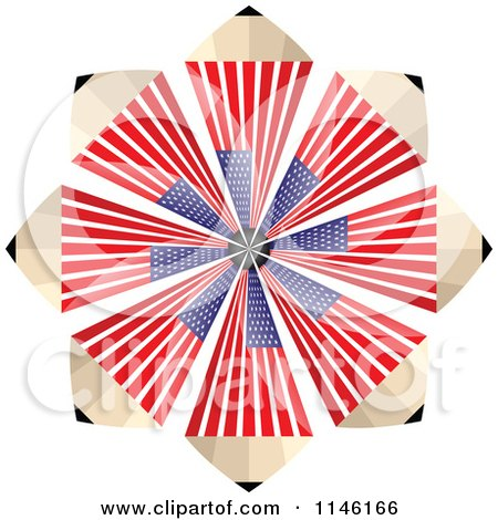 Clipart of an American Flag Pencil Burst - Royalty Free CGI Illustration by Andrei Marincas