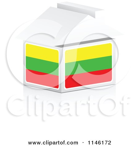 Clipart of a 3d Lithuanian Flag House - Royalty Free CGI Illustration by Andrei Marincas
