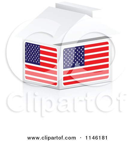 Clipart of a 3d American Flag House - Royalty Free CGI Illustration by Andrei Marincas