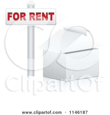 Clipart of a 3d White House with a for Rent Sign - Royalty Free CGI Illustration by Andrei Marincas