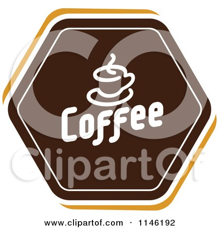 Clipart of a Brown Coffee Logo 1 - Royalty Free Vector Illustration by elena