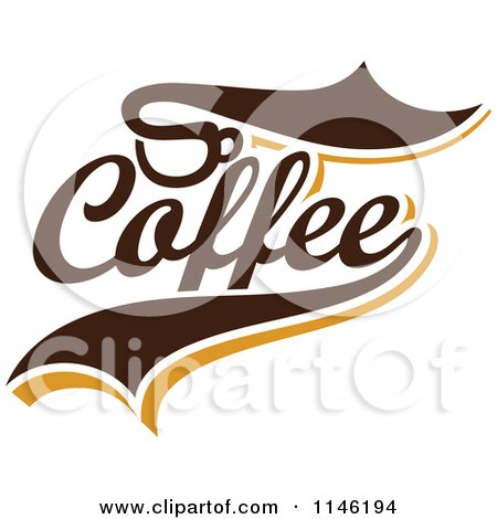 Clipart of a Brown Coffee Logo 3 - Royalty Free Vector Illustration by elena