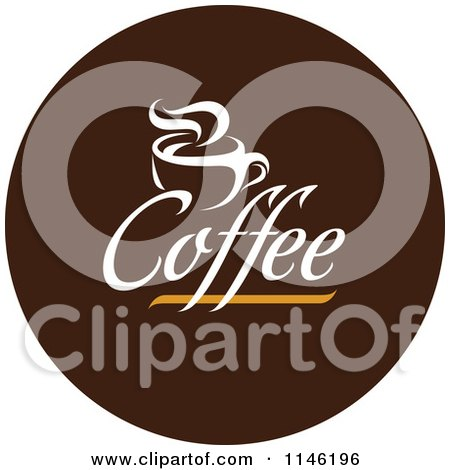 Clipart of a Brown Coffee Logo 5 - Royalty Free Vector Illustration by elena