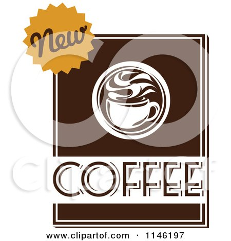 Clipart of a Brown Coffee Logo 6 - Royalty Free Vector Illustration by elena