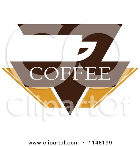 Clipart of a Brown Coffee Logo 8 - Royalty Free Vector Illustration by elena