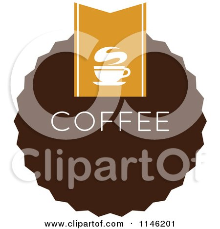 Clipart of a Brown Coffee Logo 10 - Royalty Free Vector Illustration by elena