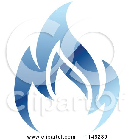 Clipart of a Gas Refinery with Blue Flames 1 - Royalty ...