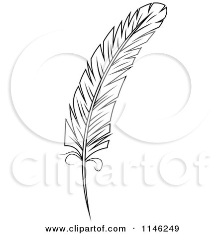 Clipart of a Black and White Feather 1 - Royalty Free Vector Illustration by Vector Tradition SM