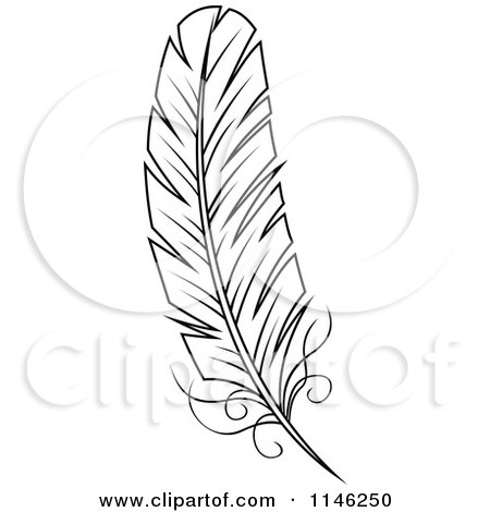 Quill And Inkwell Drawing Clipart of a Black and...