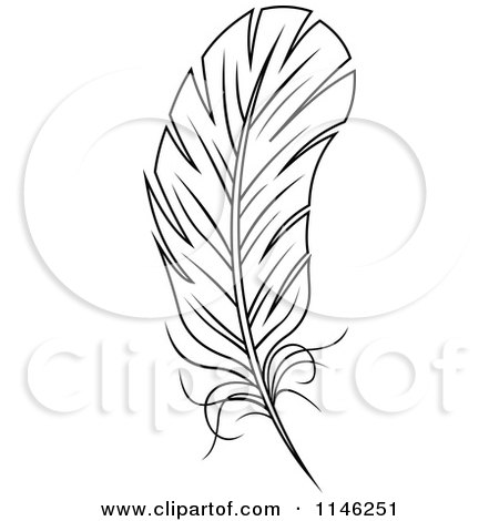 Clipart of a Black and White Feather 3 - Royalty Free Vector Illustration by Vector Tradition SM