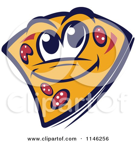Clipart of a Happy Pizza Slice Mascot 2 - Royalty Free Vector Illustration by Vector Tradition SM
