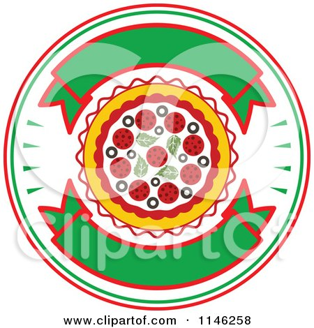 Clipart of a Pizzeria Pizza Pie Logo 1 - Royalty Free Vector Illustration by Vector Tradition SM