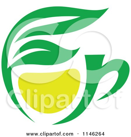 Clipart of a Green Tea Cup with Lemon and Leaves 1 - Royalty Free Vector Illustration by Vector Tradition SM