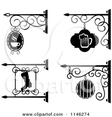 Clipart of Black and White Storefront Bar Pub and Workshop Shingle Signs - Royalty Free Vector Illustration by Vector Tradition SM