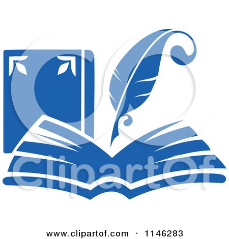 Clipart of a Blue Quill Pen over an Open Book - Royalty Free Vector Illustration by Vector Tradition SM