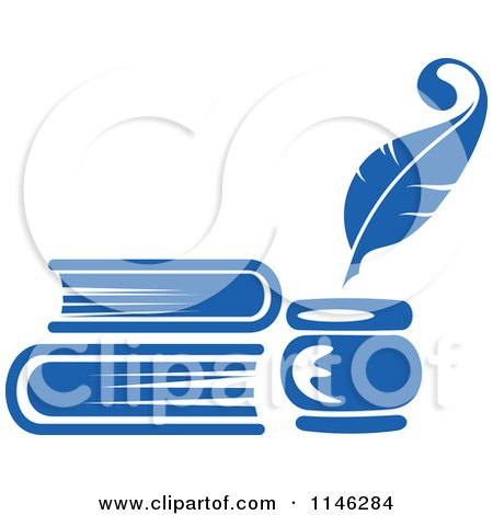 Clipart of a Blue Quill Pen Inkwell and Books - Royalty Free Vector Illustration by Vector Tradition SM
