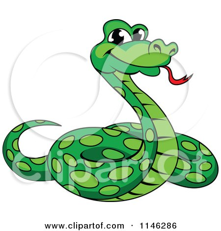 Clipart Of A Green Phython Snake Royalty Free Vector Illustration