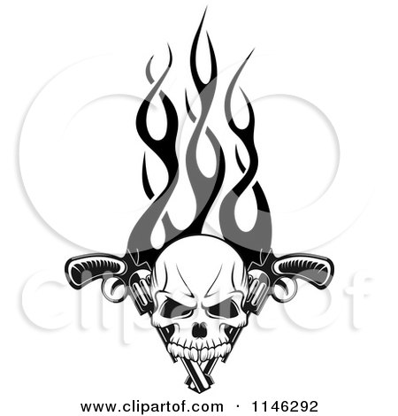 Clipart of a Black and White Skull over Pistols and Flames - Royalty Free Vector Illustration by Vector Tradition SM
