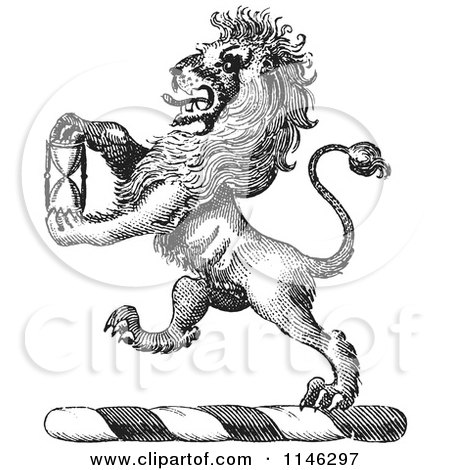 Clipart of a Black and White Vintage Lion Crest with an Hourglass - Royalty Free Vector Illustration by Picsburg