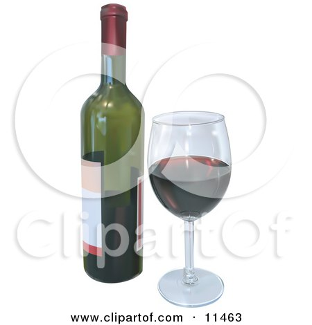Wineglass With Red Wine and a Bottle Clipart Illustration by AtStockIllustration