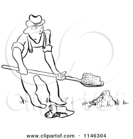 Cartoon of a Black and White Man Digging - Royalty Free Vector Clipart by Picsburg