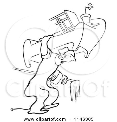 Cartoon of a Black and White Mover Carrying Furniture - Royalty Free Vector Clipart by Picsburg
