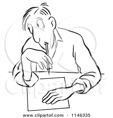 Cartoon of a Black and White Man Glancing to Cheat on a Test - Royalty Free Vector Clipart by Picsburg