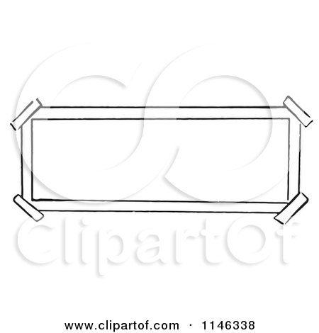Cartoon of a Black and White Sign with Taped Corners - Royalty Free Vector Clipart by Picsburg