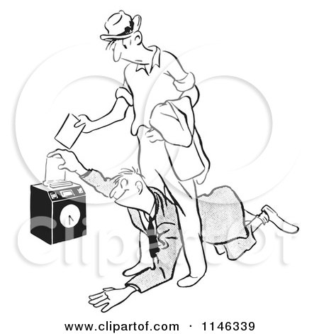 Cartoon of a Black and White Worker Diving Under Another to Punch in First - Royalty Free Vector Clipart by Picsburg