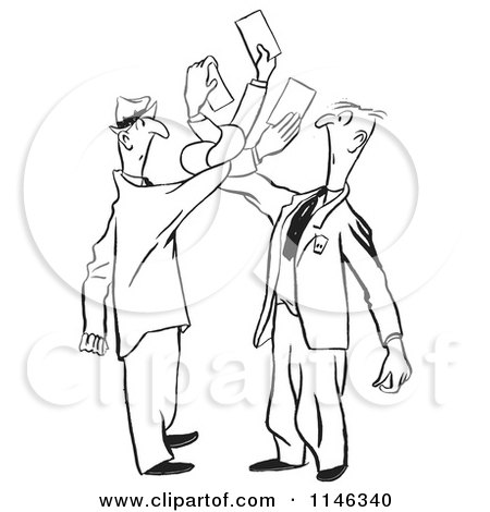 Cartoon of Black and White Men Getting Tangled While Trying to Exchange Cards - Royalty Free Vector Clipart by Picsburg