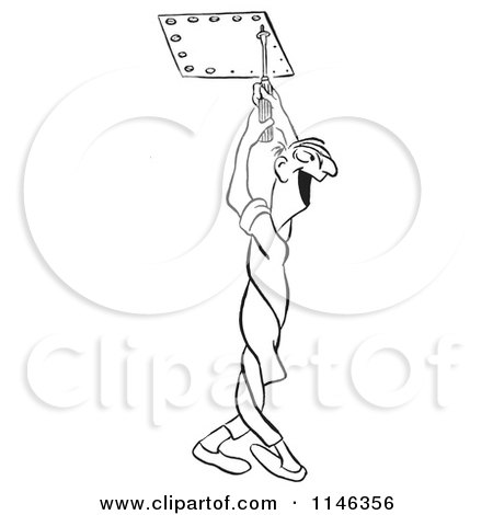 Cartoon Of A Black And White Male Worker Twisting His Body