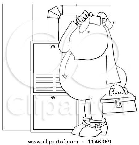 Cartoon of an Outlined Santa in His Pajamas Trying to Fix a Furnace - Royalty Free Vector Clipart by djart