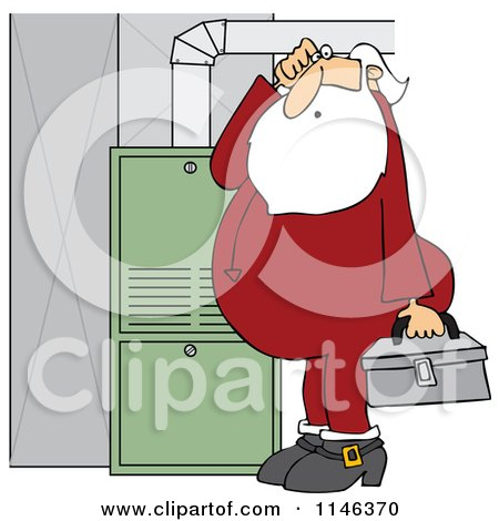 Cartoon of Santa in His Pajamas Trying to Fix a Furnace - Royalty Free Vector Clipart by djart