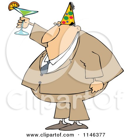 Cartoon of a Businessman Wearing a Party Hat and Toasting - Royalty Free Vector Clipart by djart