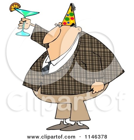 Cartoon of a Businessman in a Plaid Jacket Wearing a Party Hat and Toasting - Royalty Free Clipart by djart