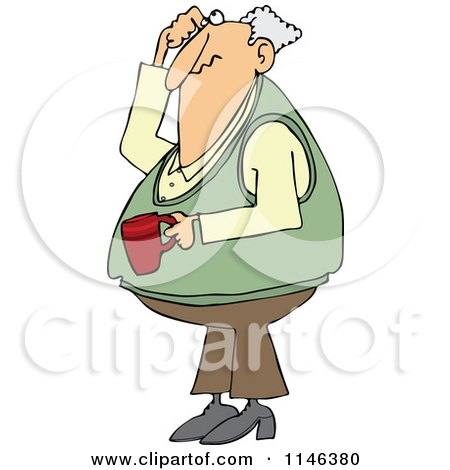 Cartoon of a Man Holding Coffee Scratching His Head and Looking up - Royalty Free Vector Clipart by djart