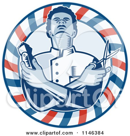 Woodcut Barber in a Pole Circle Holding Scissors and Clippers Posters, Art Prints