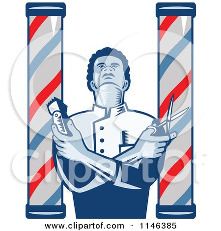 Clipart of a Woodcut Barber Between Poles Holding Scissors and Clippers - Royalty Free Vector Illustration by patrimonio