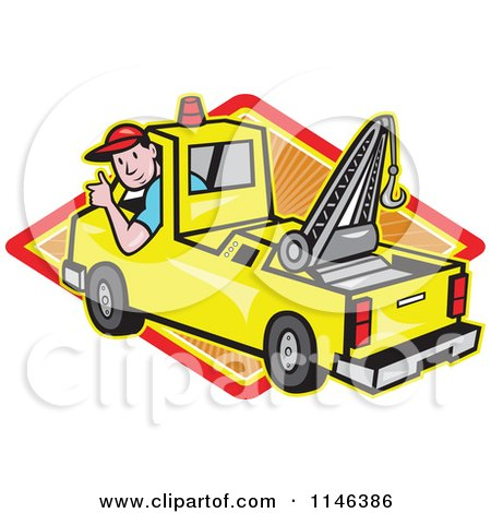 Cartoon of a Happy Tow Truck Driver Holding a Thumb up over a Diamond - Royalty Free Vector Clipart by patrimonio