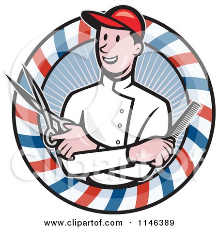 Cartoon of a Barber with Crossed Arms Holding a Comb and Scissors in a Pole Circle - Royalty Free Vector Clipart by patrimonio